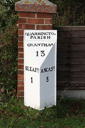 Quarrington, Lincolnshire - Milestone displaying the distance from Quarrington to Grantham, Sleaford and Ancaster