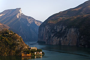 Three Gorges - The Qutang Gorge in 2009, with its lower reaches flooded by the reservoir