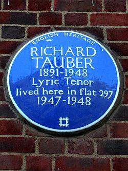 Richard tauber 1891 1948 lyric tenor lived here in flat 297 1947 1948