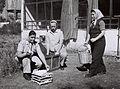 """ROUMANIAN WAR ORPHANS WORKING IN THE CHICKEN COOP AT THE """"MESHEK HAPOALOT"""" FARM IN PETAH TIKVA. יתומות מרומניה עובדות בלול התרנגולות בחוות """"משק הפועלוD842-090.jpg"""