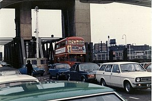 Woolwich Ferry - An RT-class bus, in its last year of service with London Transport, embarking the Woolwich Ferry in 1979
