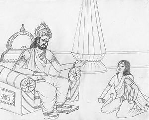 Ashtavakra - Janaka debating with Ashtavakra. Art from the epic Ashtavakra (2010).