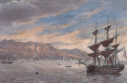 A painting depicting the British Expeditionary Force off the coast of Ras Al Khaimah in 1809. Ras Al Khaimah by Charles Hamilton Smith.jpg