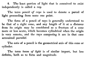 Pencil (optics) - Definitions of ray, pencil, and beam in Henry Coddington's 1829 A System of Optics, Part 1