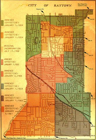 Raytown, Missouri - Raytown street map with annex dates