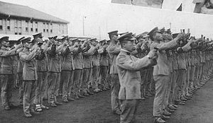 Japanese militarism - Japanese officers reading the Imperial Rescript to Soldiers and Sailors
