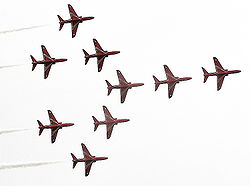 Red Arrows Hawks in Concorde formation