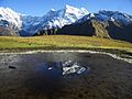 Reflection of Mount Chaukhamba on the frozen taal at Buda Madhyamaheshwar top.JPG
