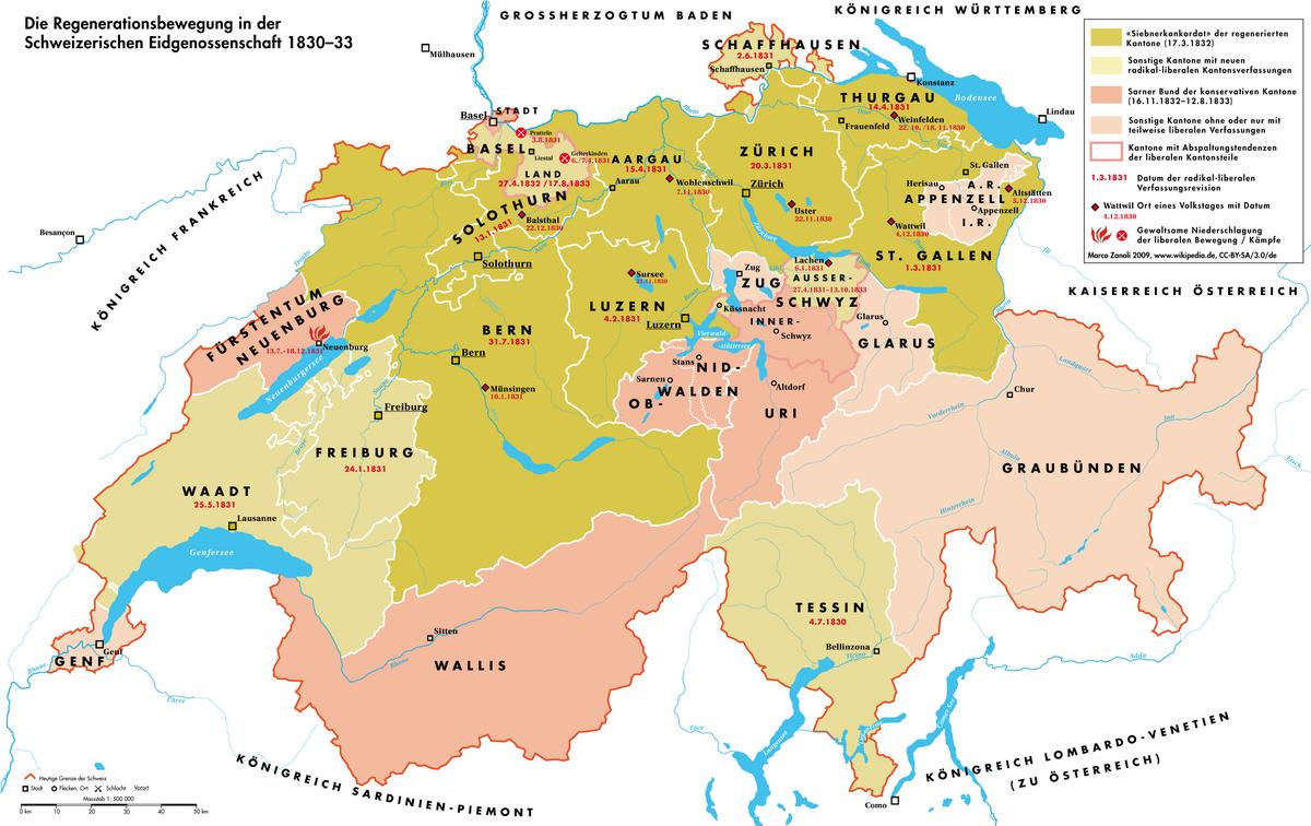 Regeneration (Schweizergeschichte) – Wikipedia - Deutschland Und Schweiz Karte