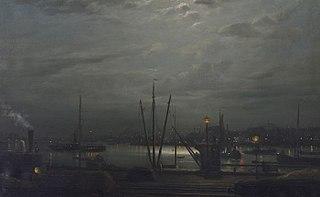 Zicht op de Maas en het Noordereiland vanaf de Oosterkade (?) bij nacht