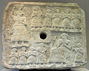 Ur-Nanshe: top - creating the foundation for a shrine; bottom - presiding over the dedication (Louvre)