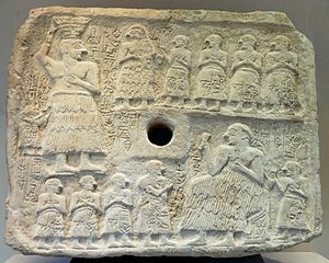 History of Sumer - Ur-Nanshe: top, creating the foundation for a shrine; bottom, presiding over its dedication (Louvre)