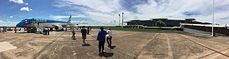 Resistencia, Chaco - Panoramic view of the airport as seen from the runway. The airplane is an Embraer 190 from Austral Líneas Aéreas destined to the city of Buenos Aires.