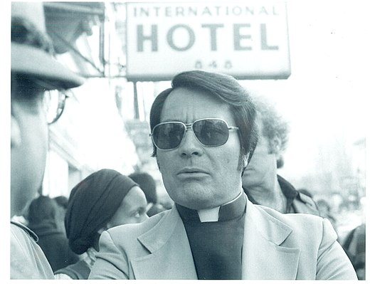 Jim jones wikiwand jones at an anti eviction protest in front of the international hotel in 1977 spiritdancerdesigns Gallery