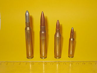 7×64mm - Image: Rifle Cartridges comparison with scale