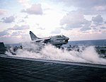 Right front view of A-7 Corsair II being catapulted from USS Dwight D. Eisenhower (CVN-69) Exercise Bright Star 1983 DN-SC-85-08629.jpg