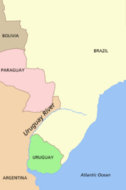 Map of western South America showing Bolivia in the northwest, Brazil in the north, Paraguay in the center, and Argentina and Uruguay in the southwest separated by the Uruguay River and the Río de la Plata