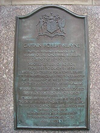 Robert Keayne - Boston plaque honoring Robert Keanye