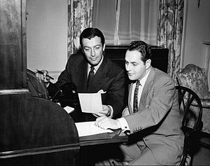 Dan Seymour (announcer) - Robert Taylor and Dan Seymour work on the television and radio program We, the People, 1950