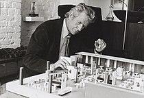 Robin Day with model of John Lewis restaurant, 1973.jpg