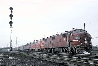 Englewood station (Chicago) - The Rocky Mountain Rocket at Englewood in April, 1965
