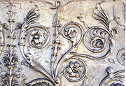 Close up on the sculpted detail of the Ara Pacis (Altar of Peace), 13 BC to 9 BC.