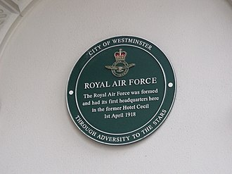 Shell Mex House - The green plaque marking the formation of the RAF.