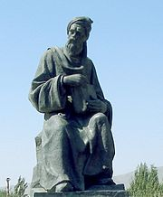 Statue of Persian-Tajik poet Rudaki in Panjakent, Tajikistan. Poetry is an important element in the culture of Tajikistan