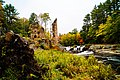 Ruins of an 1800s gristmill resist defeat against a backdrop of autumn leaves and a raging waterfall of the upper Lehigh River in Historic Stoddartsville.jpg