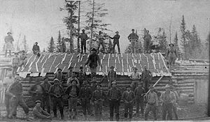 History of Maine - Loggers at Russell Camp, Aroostook County, ca. 1900