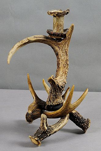 Red deer - Rustic deer antler candle holder