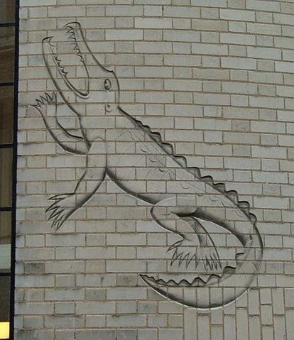 Изображение крокодила на стене Кавендишской лаборатории