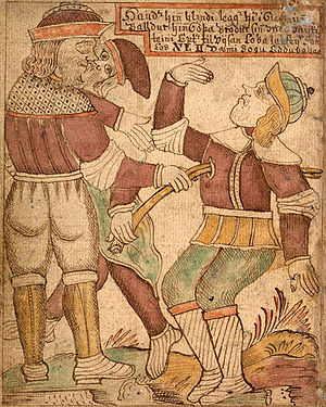 An illustration of the blind Höðr killing Bald...