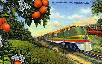 "Seaboard Air Line Railroad - Postcard illustrating the allure of streamliner travel to Florida, along with the ""citrus"" paint scheme used on SAL's EMD diesel locomotives from 1939 to 1954."