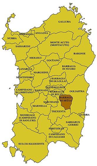 Barbagia di Seulo - Location of the Barbagia di Seulo in Sardinia.