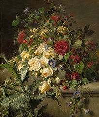 Bouquet of Flowers on a Ledge
