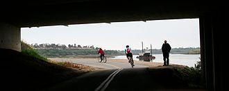 San Diego Creek bicycle path - San Diego Creek Trail as it passes under Jamboree Road at the Newport Back Bay