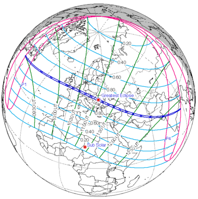 NASA-produced map of the eclipse with coordinates