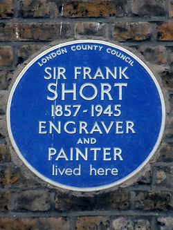 Sir frank short 1857 1945 engraver and painter lived here