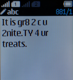 Text messaging Act of typing and sending a brief, digital message