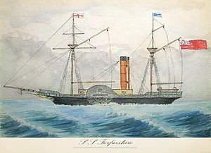 Forfarshire (ship) - Contemporary watercolour of SS Forfarshire, c.1835