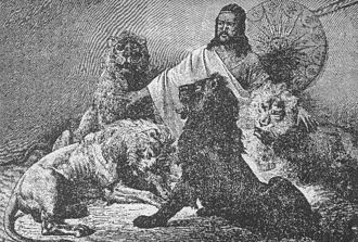Tewodros II - Tewodros giving audience, surrounded by lions.