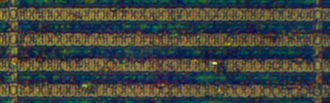 Static random-access memory - Comparison image of 180 nanometre SRAM cells on a STM32F103VGT6 microcontroller as seen by an optical microscope.