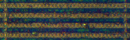 Comparison image of 180 nanometre SRAM cells on a STM32F103VGT6 microcontroller as seen by an optical microscope STM32F103VGT6-SRAM.jpg