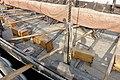 Saga Oseberg Details Gunwale, shroud pin, wood deck, oares in oareholes (årer i hull), rowers' stools (skamler), dory (bom,rå) Viking ship replica 2012 Tønsberg harbour Norway 2019-08-27 05561.jpg