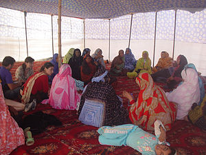 """National Union of Sahrawi Women - Sectorial workshop during the 5th Congress of the """"National Union of Sahrawi Women"""", at the Sahrawi refugee camps (April 6, 2007)."""
