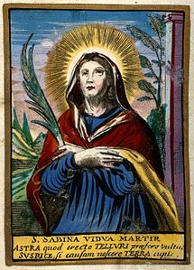 Saint Sabina of Rome. Coloured etching. Wellcome V0033336.jpg