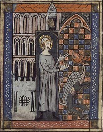 Amandus - Saint Amandus and the serpent, from a 14th-century manuscript