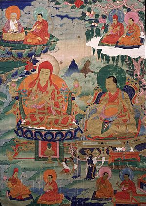 Drogön Chögyal Phagpa - Sakya Pandita, Kunga Gyaltsen Pal Zangpo (1182-1251), wearing a tall red hat, the sixth throne holder of Sakya, great grandson of Khon Konchog Gyalpo. Sakya Pandita is accompanied by his nephew Chogyal Phagpa