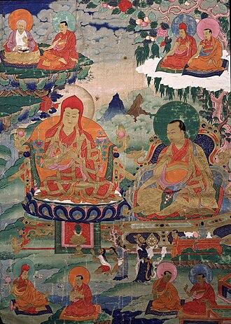 Drogön Chögyal Phagpa - Sakya Pandita, Kunga Gyaltsen Pal Zangpo (1182-1251), wearing a tall red hat, the sixth throne holder of Sakya, great grandson of Khon Konchog Gyalpo. Sakya Pandita is accompanied by his nephew Chogyal Phagpa